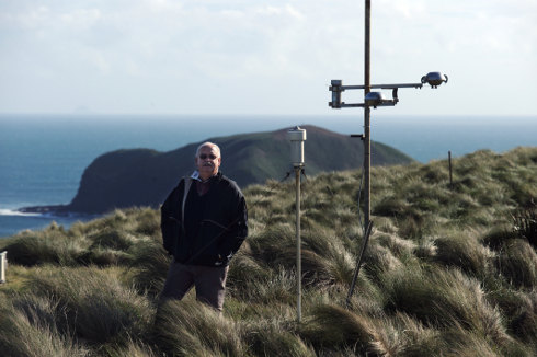 Back to the source: Dr Paul Fraser at Cape Grim, a globally significant greenhouse gas monitoring facility generating data that can now be viewed online.
